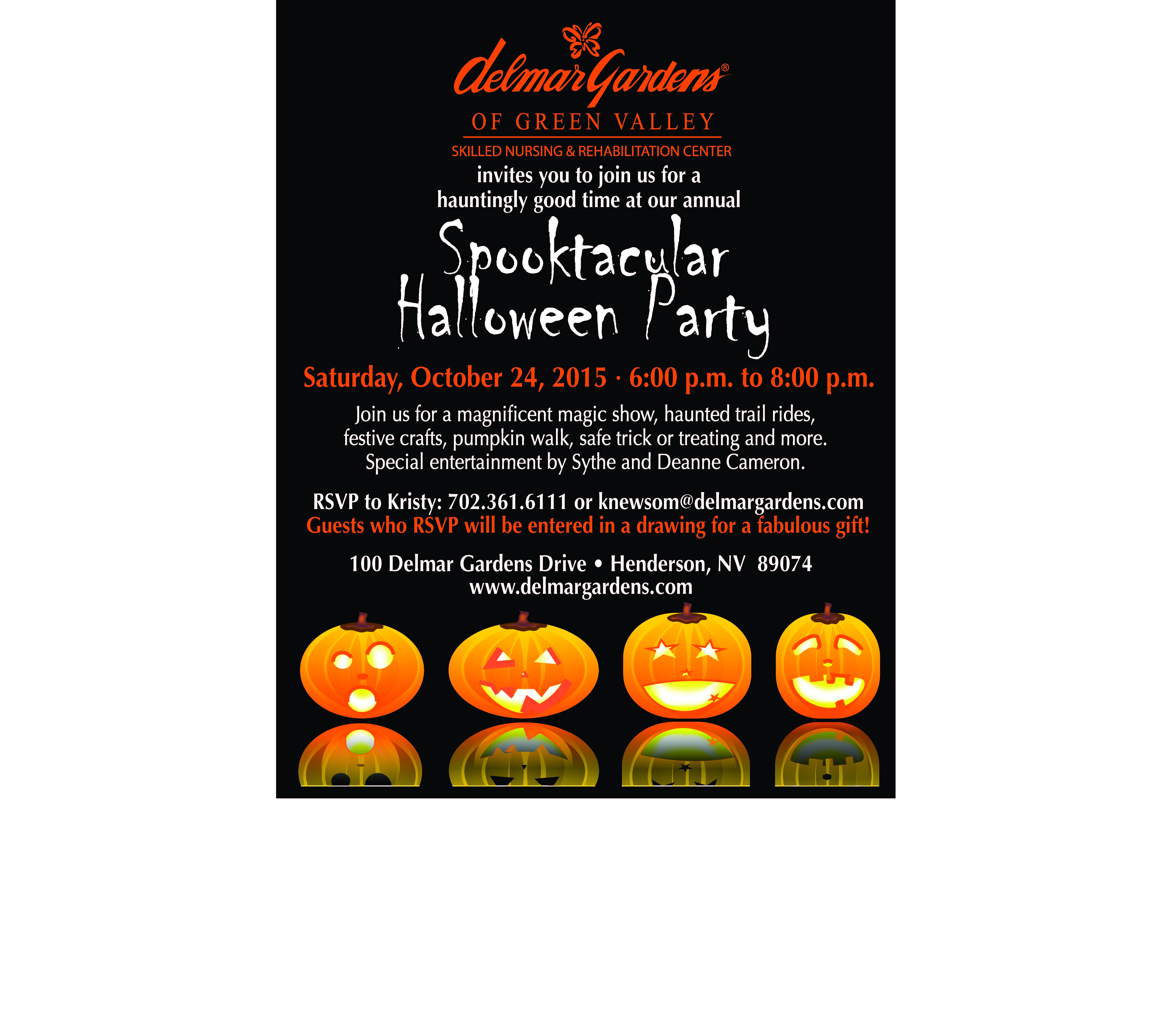 Spooktacular Halloween Party Public Flyer | Delmar Gardens